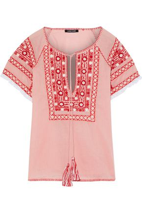 LOVE SAM Lace-trimmed embroidered cotton-voile top