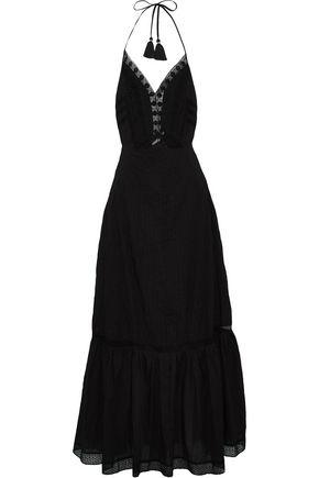 LOVE SAM Embroidered pleated cotton-gauze maxi dress