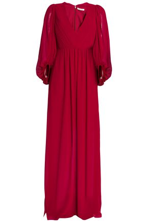 HALSTON HERITAGE Pleated crepe gown