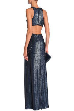 HALSTON HERITAGE カットアウト スパンコール付き チュール ロングドレス