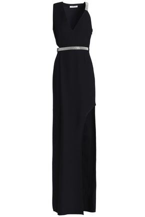 HALSTON HERITAGE Bead-embellished cutout crepe gown