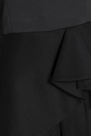 HALSTON HERITAGE Strapless satin peplum jumpsuit