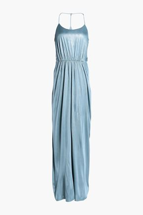 HALSTON HERITAGE Gathered metallic jersey gown