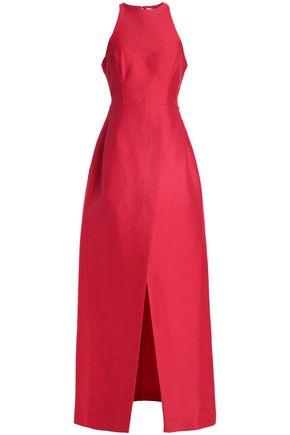 HALSTON HERITAGE Wrap-effect cotton and silk-blend maxi dress