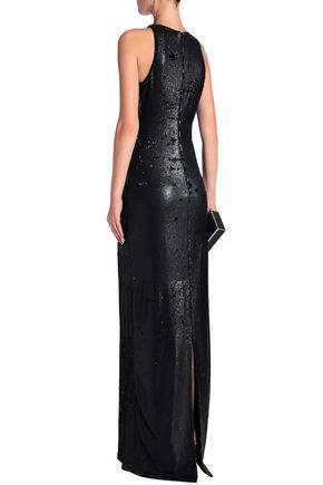 HALSTON HERITAGE Cutout sequined tulle gown