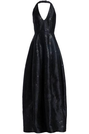 HALSTON HERITAGE Metallic jacquard halterneck gown