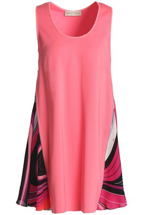 EMILIO PUCCI Paneled silk-blend crepe and twill mini dress