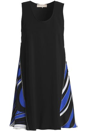 EMILIO PUCCI Paneled silk-blend crepe and twill mini dress