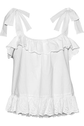 LOVE SAM Ruffled broderie anglaise cotton top