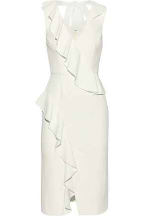 REBECCA VALLANCE Sylvette tie-back ruffled crepe dress