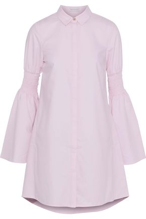 REBECCA VALLANCE Alexa shirred poplin mini shirt dress