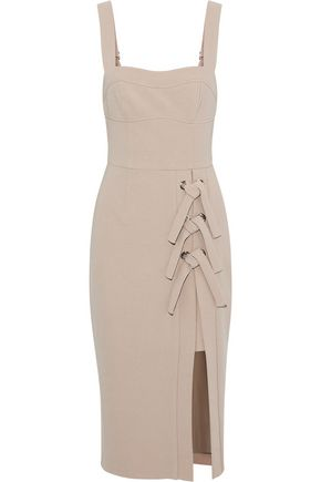 REBECCA VALLANCE Celestina lace-up crepe dress