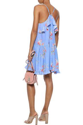 LOVE SAM Ruffle-trimmed floral-print crepe de chine mini dress