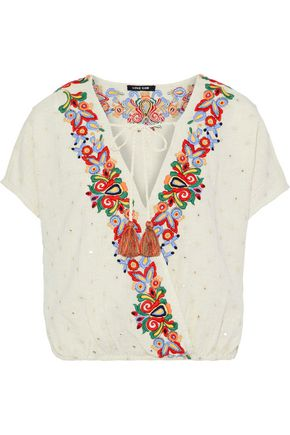 LOVE SAM Wrap-effect embellished cotton and linen-blend blouse