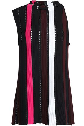 PROENZA SCHOULER Gathered ribbed and open-knit top