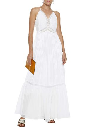 LOVE SAM Embroidered pleated cotton-gauze maxi dress