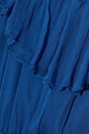LOVE SAM Cold-shoulder bead-embellished georgette midi dress