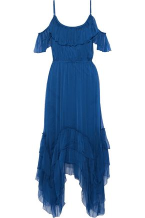 LOVE SAM Cold-shoulder bead-embellished georgette midi dress