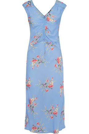 LOVE SAM Ruched floral-print crepe de chine midi dress