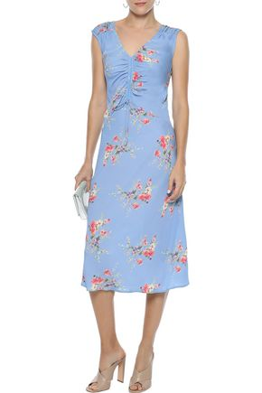 639ee5edc257 Ruched floral-print crepe de chine midi dress | LOVE SAM | Sale up ...