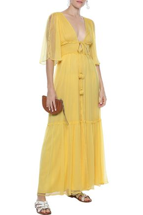 LOVE SAM Sayo shirred georgette maxi dress
