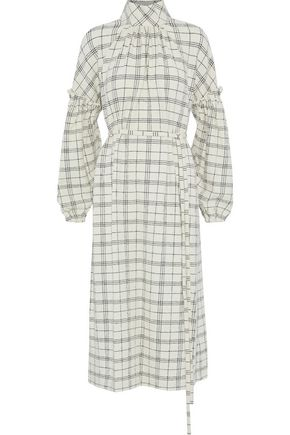 TIBI Belted checked wool cloqué midi dress
