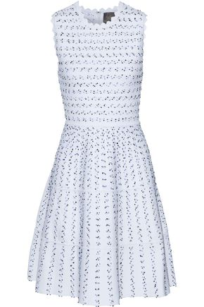 LELA ROSE Flared bouclé-knit dress