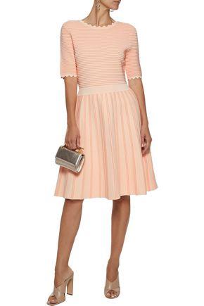 LELA ROSE Flared stretch-knit dress