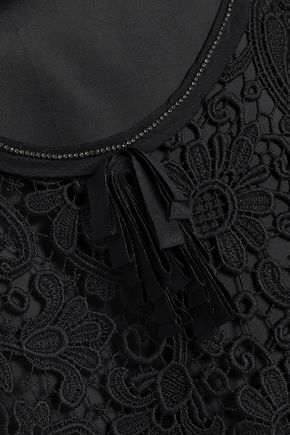N°21 Crystal-embellished layered guipure lace and twill mini dress