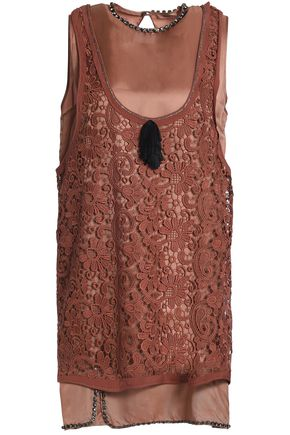 N° 21 Crystal-embellished layered guipure lace and twill mini dress