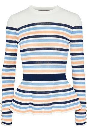 LELA ROSE Striped knitted peplum top