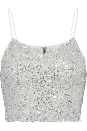 ALICE + OLIVIA Archer cropped sequined tulle top