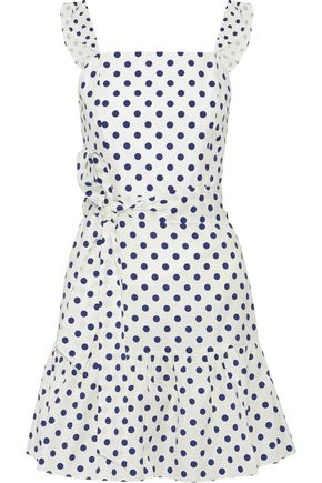 ALICE + OLIVIA Farah ruffled polka-dot cotton-poplin mini dress