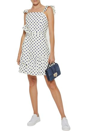 ALICE + OLIVIA Farah ruffled polka-dot cotton-poplin mini dress