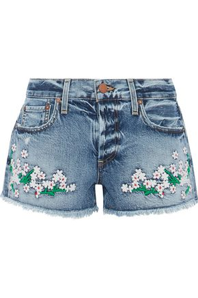 ALICE + OLIVIA Embroidered distressed denim shorts