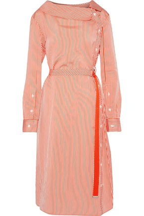 ALTUZARRA Albany belted striped satin midi dress
