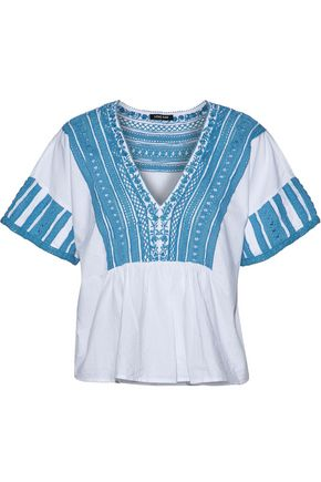 LOVE SAM Crochet-paneled cotton-voile top