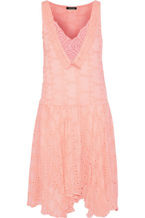 LOVE SAM Lia crochet-paneled broderie anglaise gauze dress