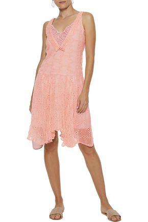LOVE SAM Lia crochet-paneled broderie anglaise gauze dress