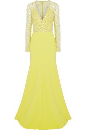 JENNY PACKHAM Embellished tulle-paneled cady gown