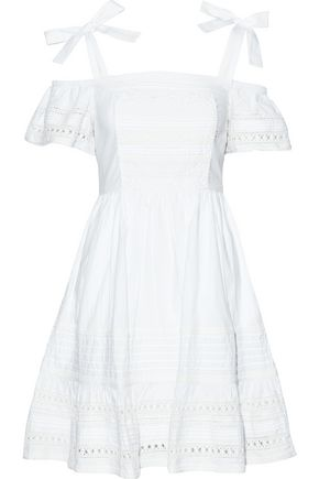 LOVE SAM Diana cold-shoulder crochet-trimmed cotton-poplin mini dress