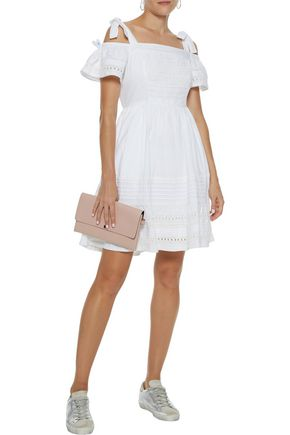 LOVE SAM Diana cold-shoulder crochet-trimmed cotton-poplin mini dress