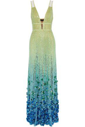 JENNY PACKHAM Dégradé cutout embellished tulle gown