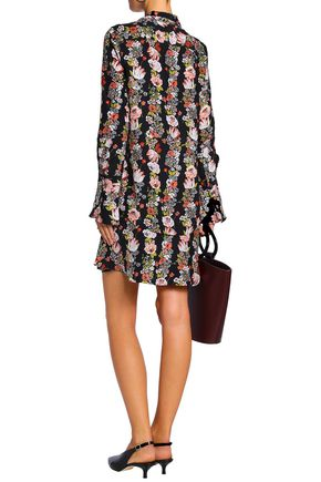 EQUIPMENT Floral-print silk crepe de chine mini dress
