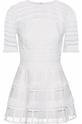 LELA ROSE Fringed guipure lace peplum top