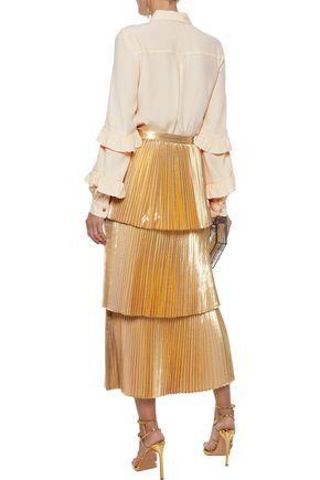 REBECCA VALLANCE Stella ruffle-trimmed crepe de chine shirt