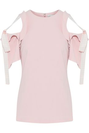 REBECCA VALLANCE Femmes cold-shoulder bow-detailed crepe top