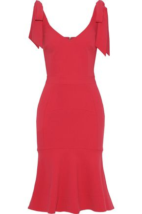 REBECCA VALLANCE Domingo fluted bow-detailed crepe dress