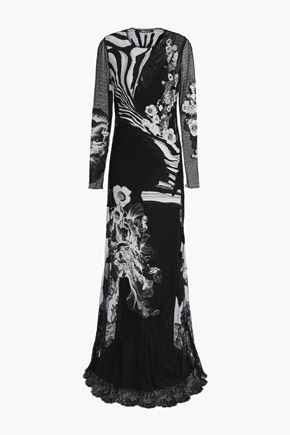 ROBERTO CAVALLI Paneled lace, point d'esprit and printed silk crepe de chine gown