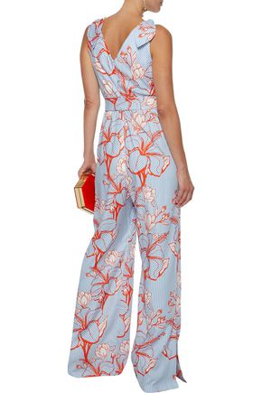 LELA ROSE Bow-detailed printed twill jumpsuit